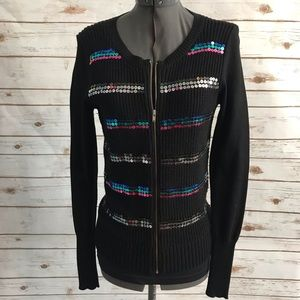I Heart Ronson sequin zip front sweater small